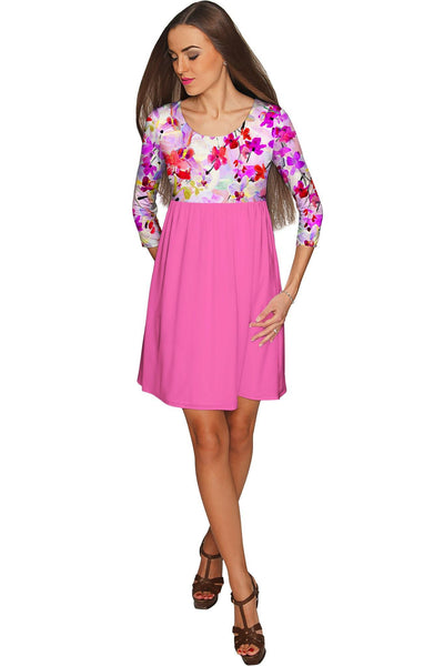 Orchid Caprice Gloria Babydoll Pink Floral Dress - Women