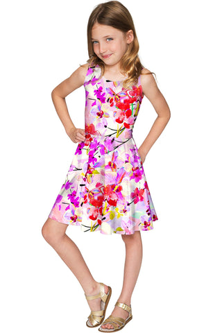 Orchid Caprice Mia Pink Floral Fancy Skater Dress - Girls - Pineapple Clothing