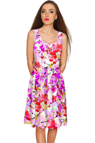 Orchid Caprice Mia Fit & Flare Pink Floral Dress - Women - Pineapple Clothing