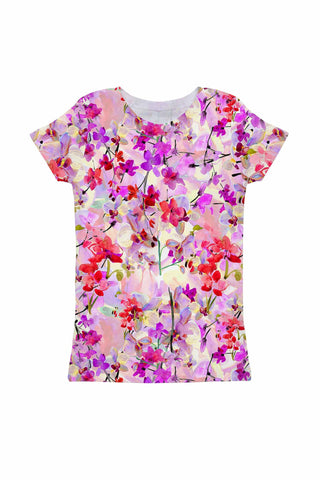 Orchid Caprice Zoe Purple Floral Print Cute Knit T-Shirt - Girls - Pineapple Clothing