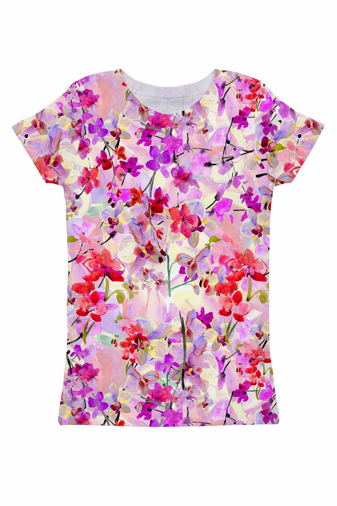 Orchid Caprice Zoe Purple Floral Print Designer Tee - Women - Pineapple Clothing