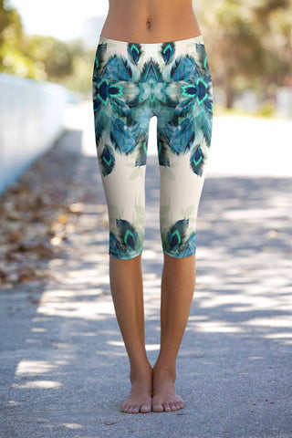 Peacock Tone Ellie Performance Yoga Capri Leggings - Women - Pineapple Clothing