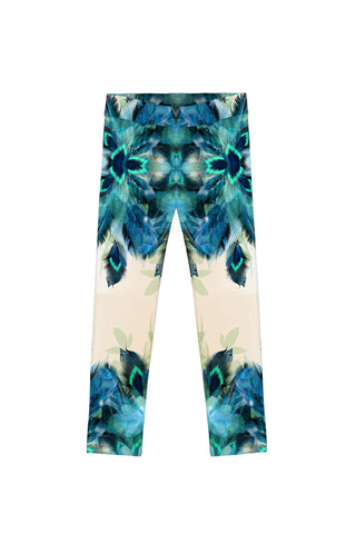 Peacock Tone Lucy Cute Printed Blue Leggings - Girls