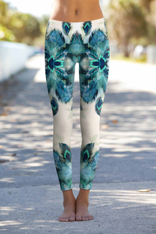 Peacock Tone Lucy Printed Performance Yoga Leggings - Women - Pineapple Clothing