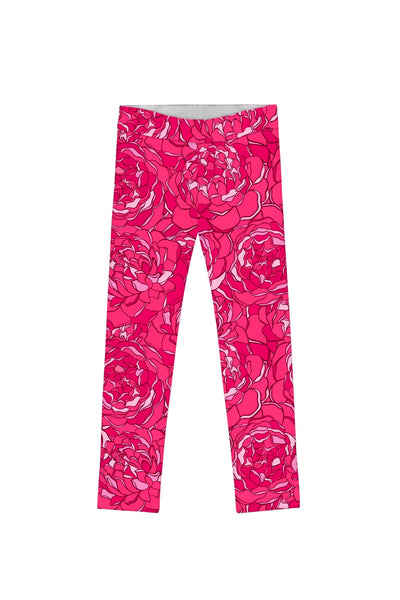 Peony Blaze Lucy Cute Hot Pink Floral Print Leggings - Girls - Pineapple Clothing