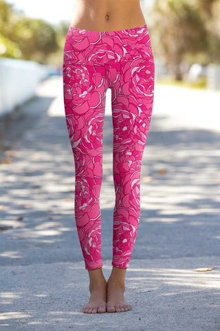 Peony Blaze Lucy Pink Floral Performance Leggings - Women - Pineapple Clothing
