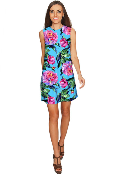 Peony Splash Adele Blue Pink Floral Mini Shift Dress - Women