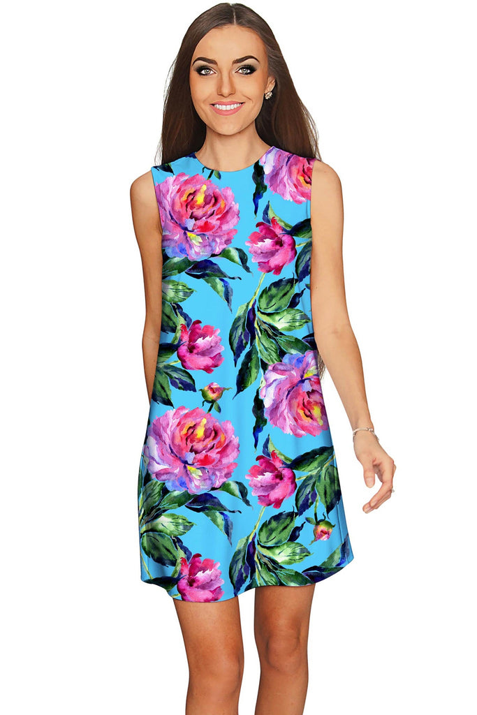 Peony Splash Adele Blue Pink Floral Mini Shift Dress - Women - Pineapple Clothing