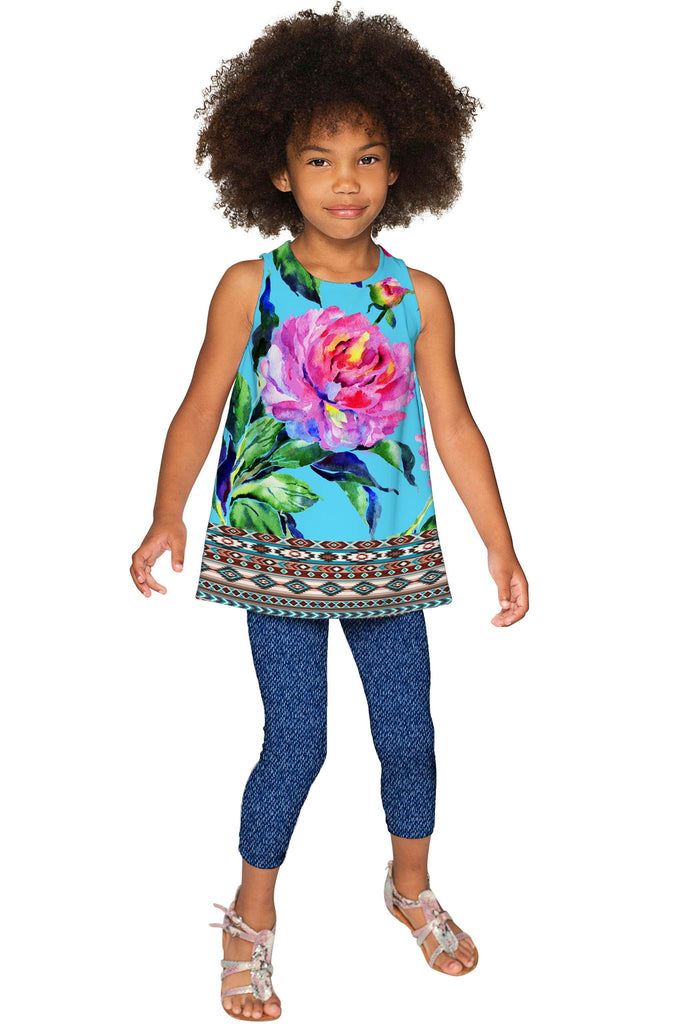 Peony Splash Emily Blue & Pink Flower Cute Party Top - Girls - Pineapple Clothing