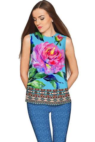 Peony Splash Emily Blue & Pink Floral Dressy Top - Women - Pineapple Clothing