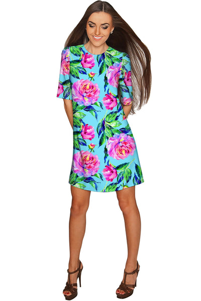 Peony Splash Grace Blue & Pink Floral Shift Dress - Women