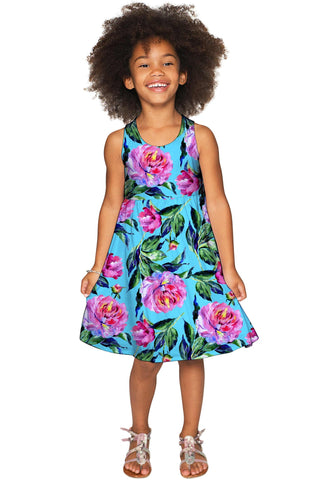 Peony Splash Sanibel Pink & Blue Floral Print Dress - Girls - Pineapple Clothing