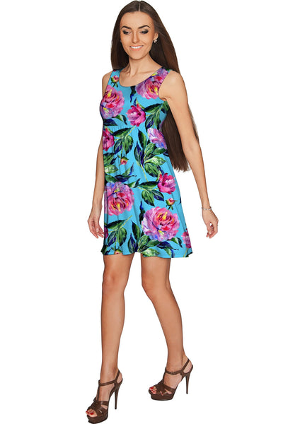 Peony Splash Sanibel Fit and Flare Blue Floral Dress - Women