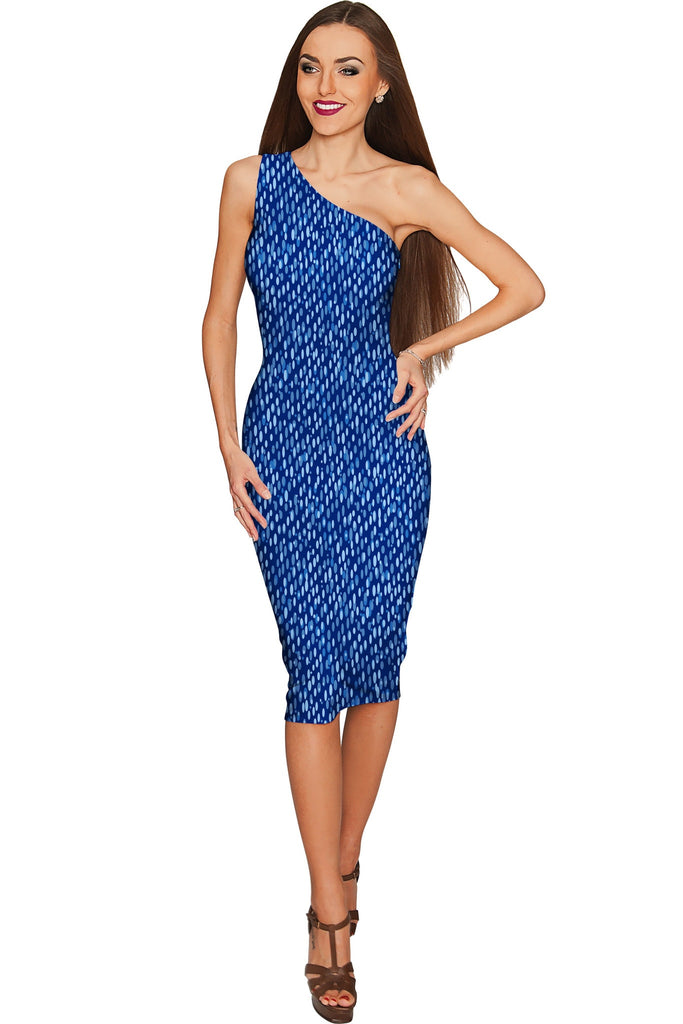 Perfect Jeans Layla Blue One-Shoulder Pencil Dress - Women - Pineapple Clothing