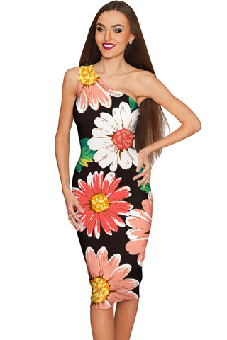 Pick Me Layla One-Shoulder Black Floral Print Dress - Women - Pineapple Clothing