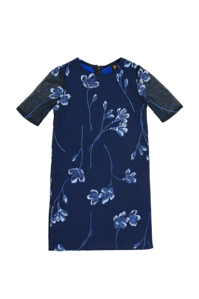 Navy Blue Floral Elbow Sleeve Cute Cocktail Party Shift Dress - Girls
