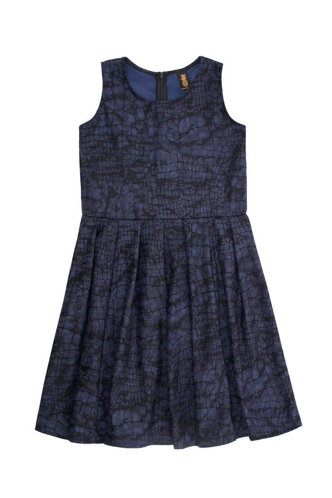 Navy Animal Print Sleeveless Skater Fit & Flare Party Dress - Girls - Pineapple Clothing