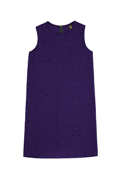 Purple Floral Sleeveless Trendy Party Shift Dress - Girls