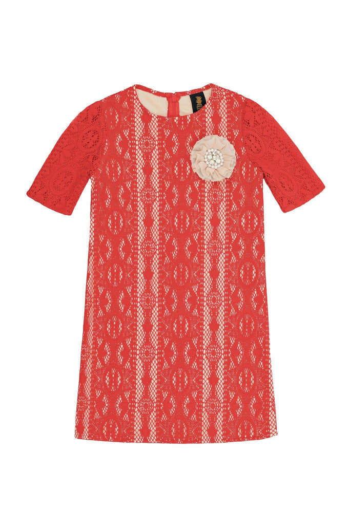Orange Coral Red Crochet Lace Sleeved Shift Fancy Party Dress - Girls - Pineapple Clothing