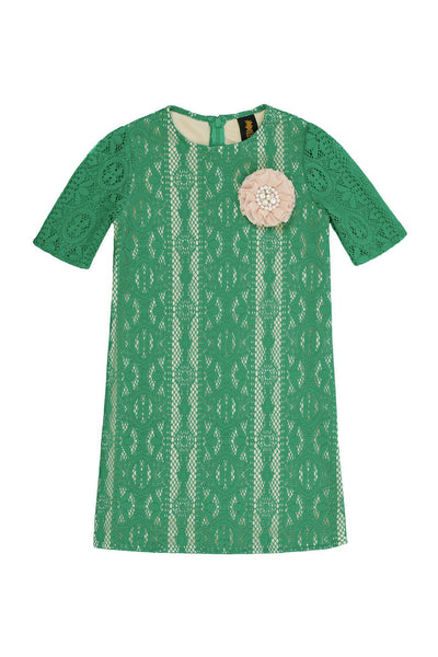 Green Crochet Lace Elbow Sleeve Shift Cute Party Spring Dress - Girls