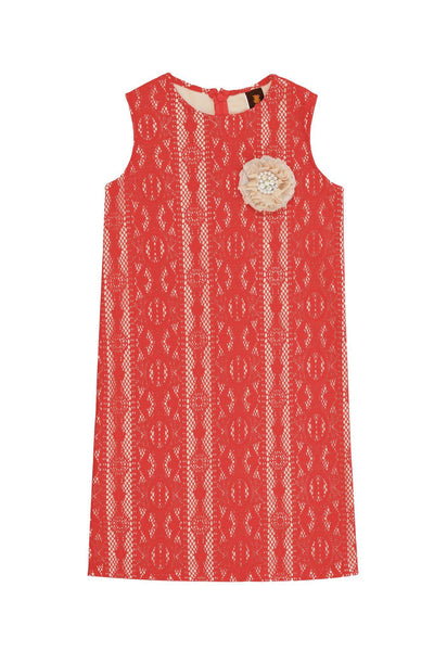 Coral Red Crochet Lace Fancy Spring Party Shift Dress - Girls