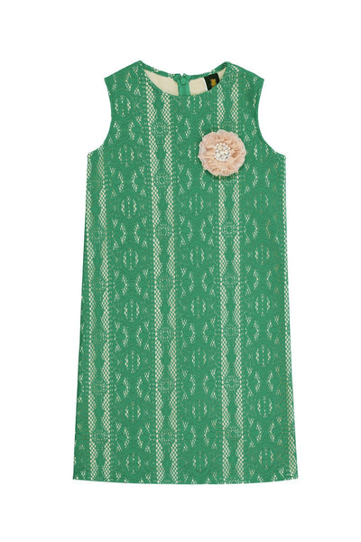 Green Crochet Lace Spring Trendy Cocktail Party Shift Dress - Girls