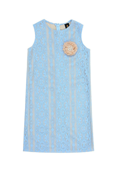 Baby Blue Crochet Lace Shift Party Cocktail Spring Dress - Girls