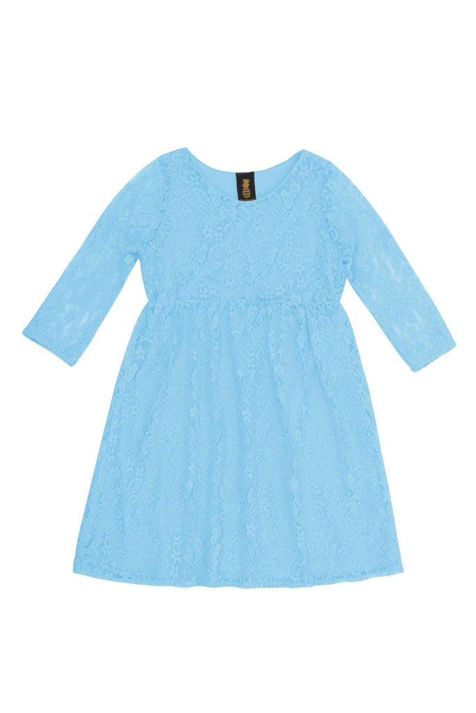 Baby Blue Stretchy Lace Empire Waist Three-Quarter Sleeve Dress - Girls - Pineapple Clothing