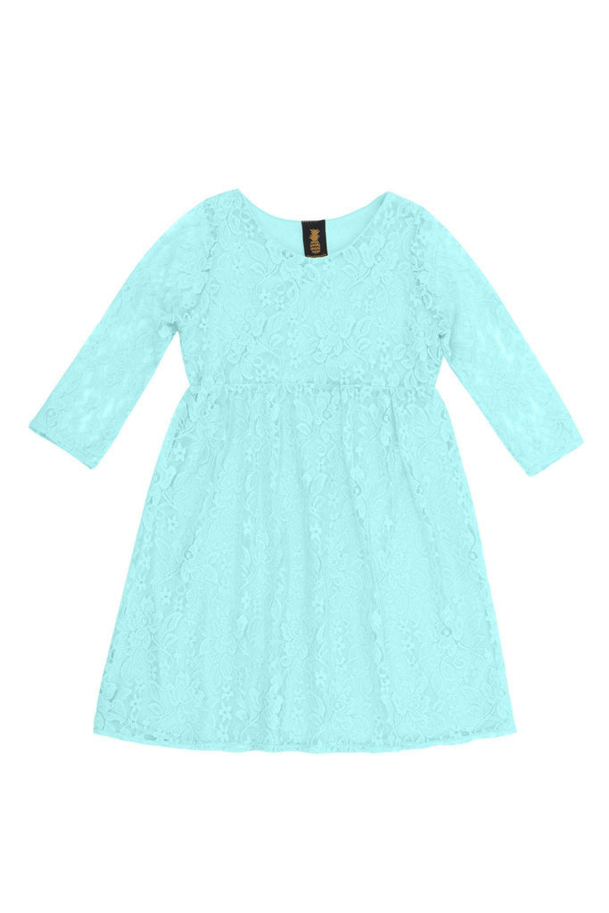 Blue Mint Lace Empire Waist Cute Party Long Sleeve Flower Girl Dress - Pineapple Clothing