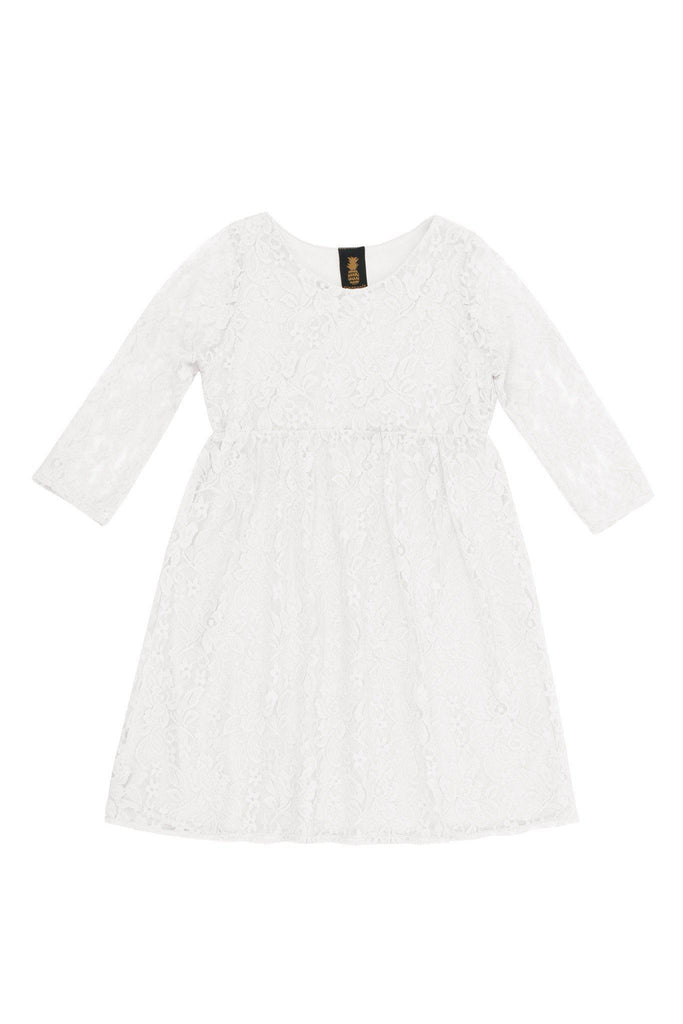 White Stretchy Lace Empire Waist Three-Quarter Sleeve Dress - Girls - Pineapple Clothing