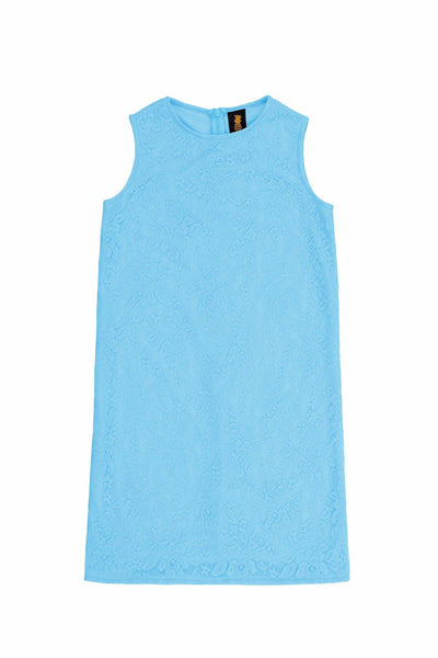 Baby Blue Stretchy Lace Sleeveless Spring Fancy Shift Dress - Girls