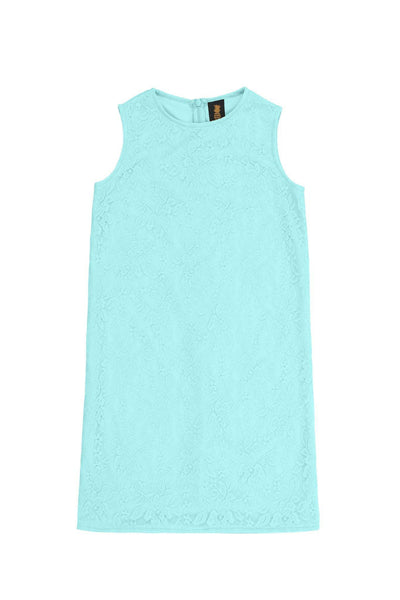 Mint Blue Stretchy Lace Sleeveless Spring Party Shift Dress - Girls