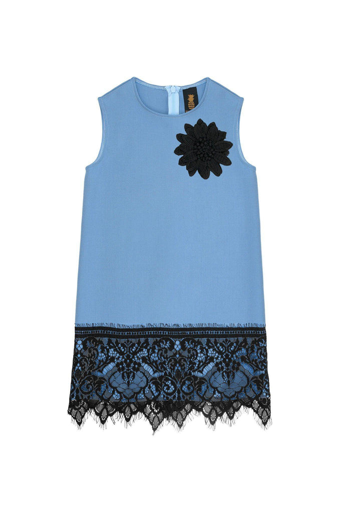 Blue Stretchy Sleeveless Stylish Party Shift Dress with lace trim - Girls - Pineapple Clothing