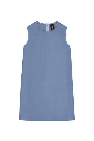 Blue Gray Stretchy Sleeveless Shift Dress - Girls