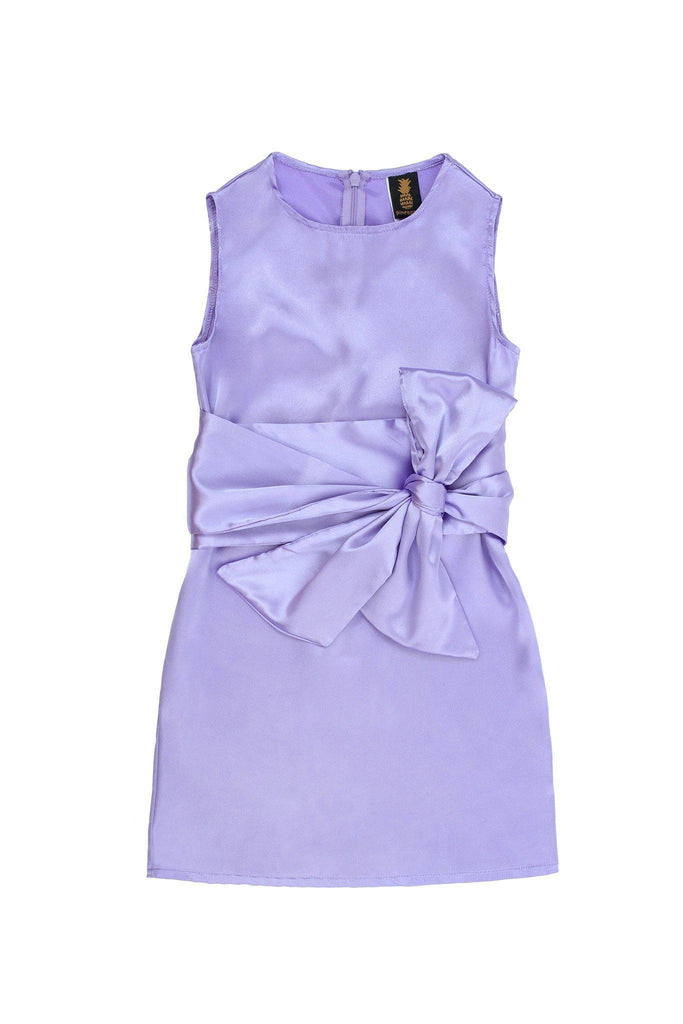 Lavender Charmeuse Cute Summer Fancy A-Line Dress With Belt - Girls - Pineapple Clothing