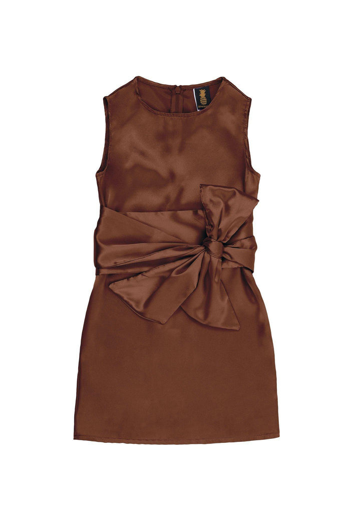 Chocolate Brown Charmeuse Fancy Party Shift Dress With Belt - Girls - Pineapple Clothing
