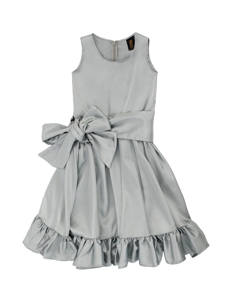 Silver Grey Fit & Flare Summer Party Little Princess Dress Flower Girl - Pineapple Clothing