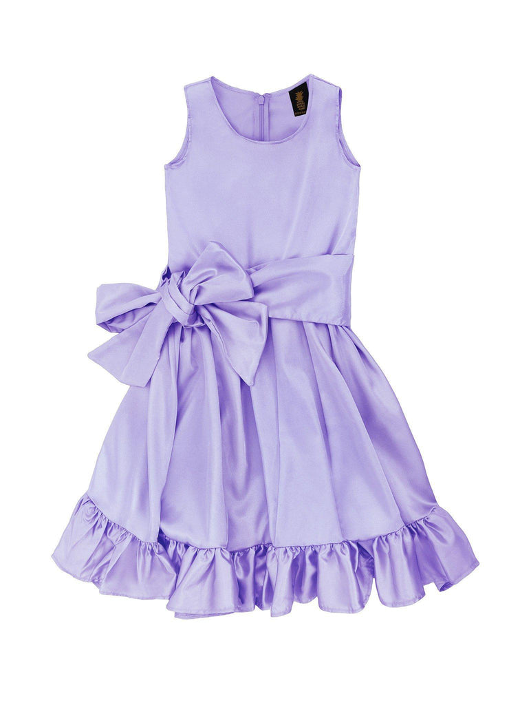 Lavender Charmeuse Fit Flare Spring Party Midi Princess Dress - Girls - Pineapple Clothing