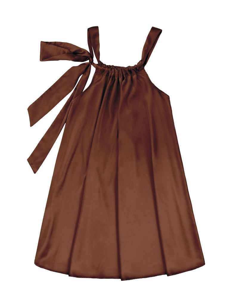 Chocolate Brown Charmeuse Halter Swing Party Dress - Girls - Pineapple Clothing