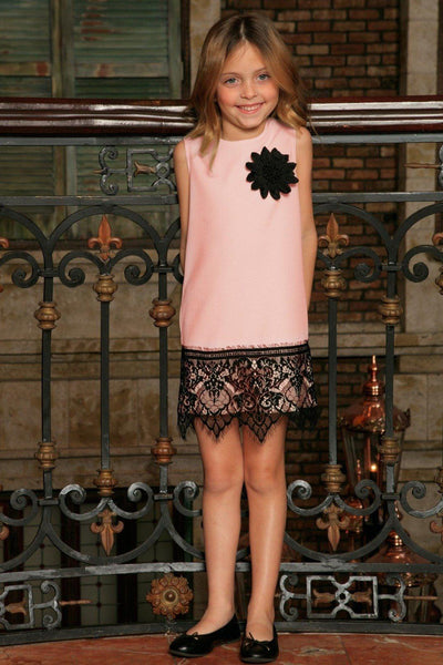 Pink Blush Stretchy Cocktail Party Shift Dress With Lace Trim - Girls