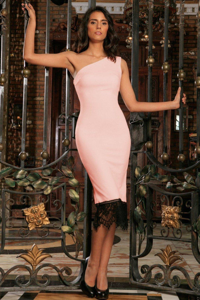 Pink Blush Stretchy One-Shoulder Bodycon Cocktail Midi Dress - Women
