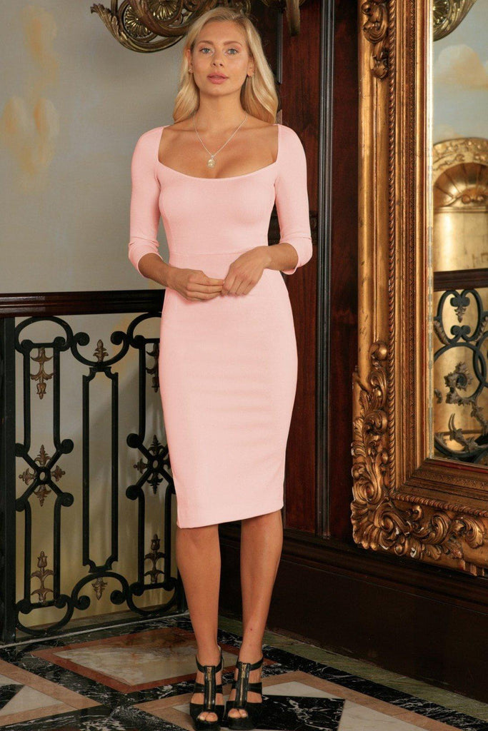 d3a8c92c780da Pink Blush Stretchy Sleeved Bodycon Summer Cocktail Midi Dress - Women -  Pineapple Clothing