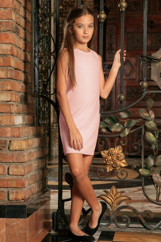 Baby Pink Blush Sleeveless Cute Spring Summer Shift Dress - Girls