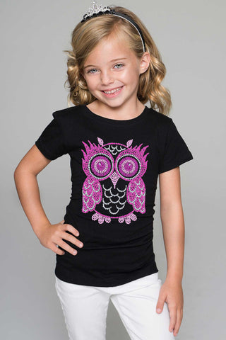 Pink Owl Tee - Girls - Pineapple Clothing