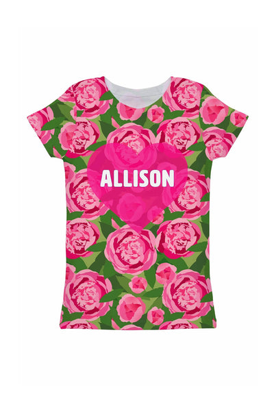 Pink Vibes Customized NAME Zoe Heart Floral T-Shirt - Girls