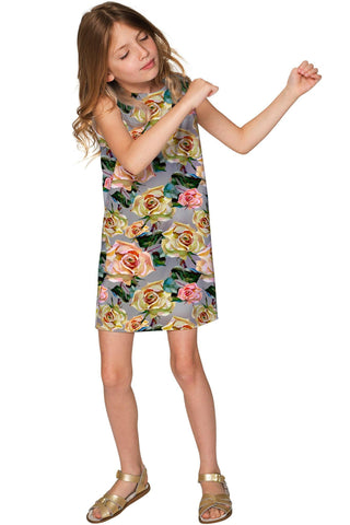 Prima Donna Adele Cute Grey Floral Party Shift Dress - Girls - Pineapple Clothing