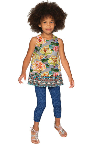 Prima Donna Emily Grey Floral Catchy Sleeveless Top - Girls - Pineapple Clothing