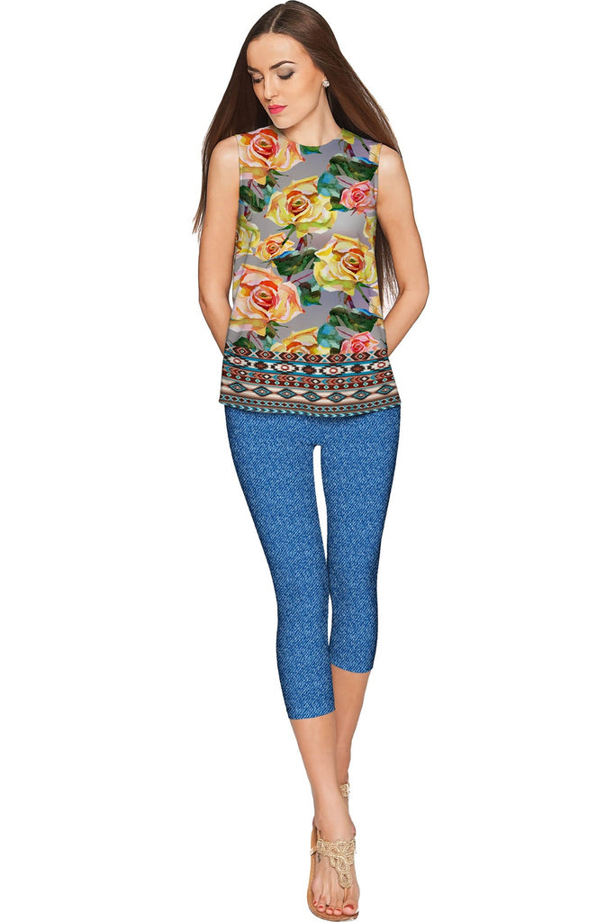Prima Donna Emily Grey Roses Print Designer Top - Women - Pineapple Clothing