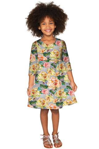 Prima Donna Gloria Empire Waist Grey Babydoll Dress - Girls - Pineapple Clothing