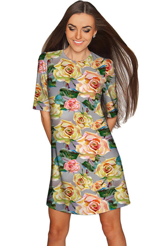 Prima Donna Grace Grey Floral Sleeved Shift Dress - Women - Pineapple Clothing